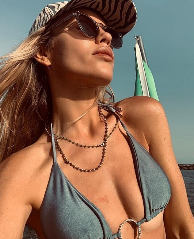 Abbey Clancy, grey  bikini bottom, grey bikini top, black sunglasses, sexy, skimpy, display, matching