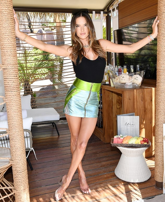 Alessandra Ambrosio wearing pointed completely see-through open toe sandals with high heel
