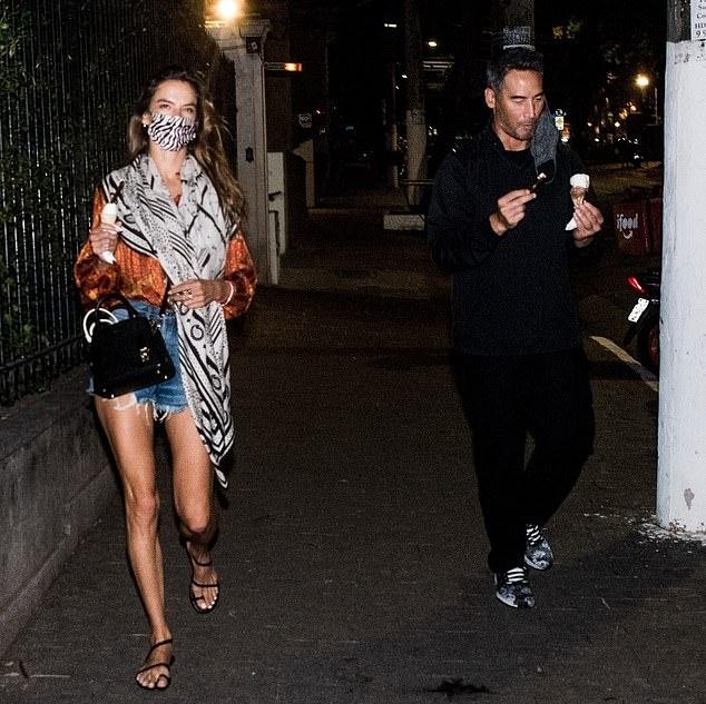 Alessandra Ambrosio donning black open toe sandals