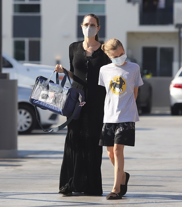 Angelina Jolie rocking a Close fitting black dress with elbow length sleeves, concealed button, a round neck and flared hem