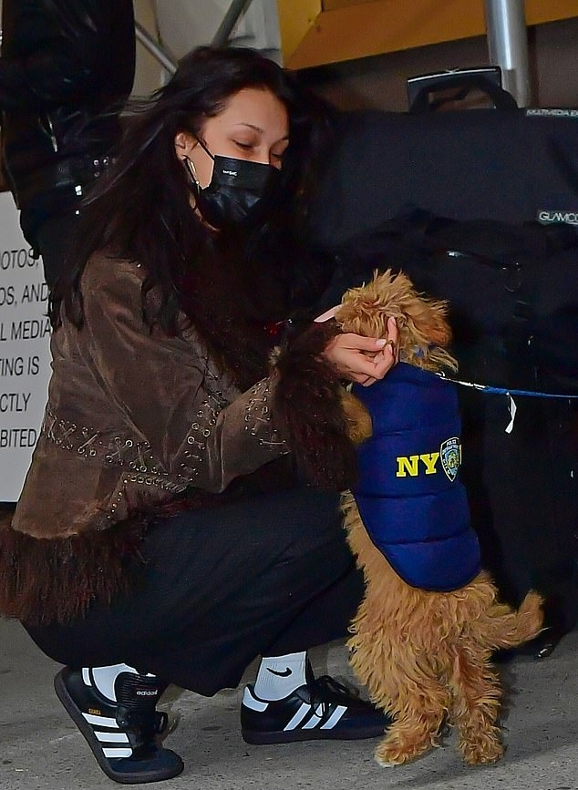 Bella Hadid wearing a brown open front fur jacket with full sleeves and embellished
