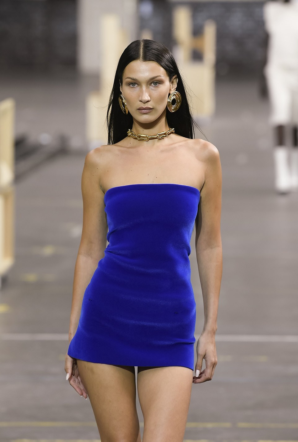 Bella Hadid rocking pointed blue thigh high booties