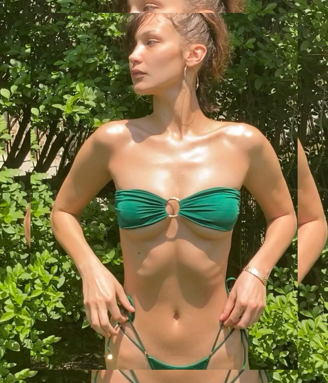 Bella Hadid, dark green  string bikini bottom, dark green bikini top, skimpy, show, matching