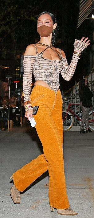 Bella Hadid wearing square brown Nude boots with high heel
