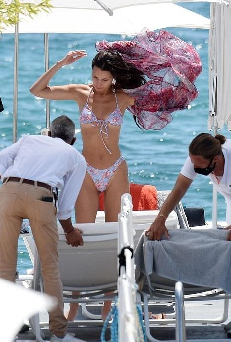 Bella Hadid donning fitted high rise bikini bottom