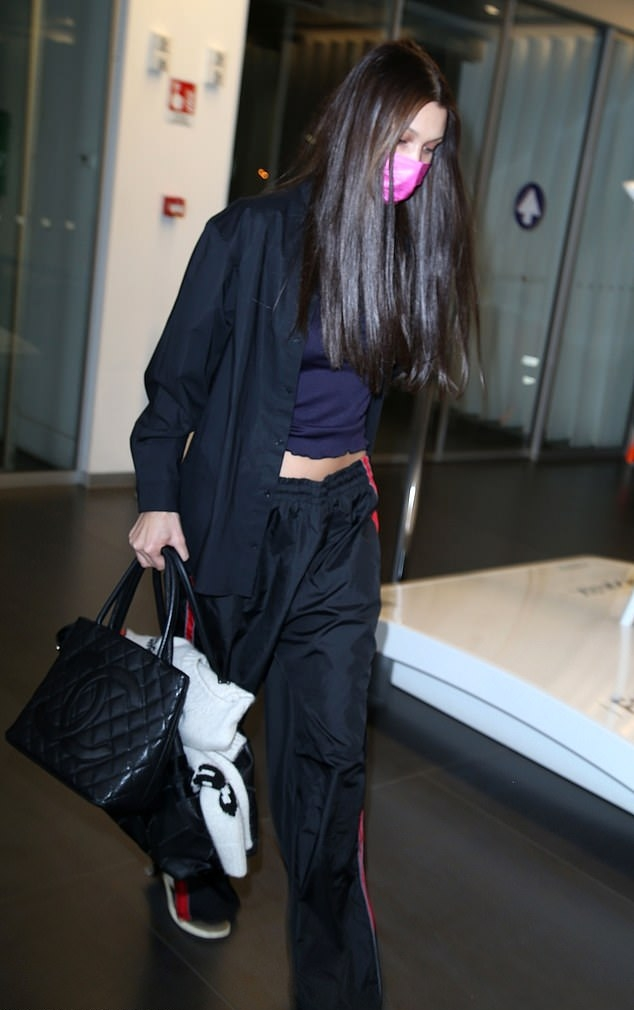 Bella Hadid carrying a patchwork Chanel calfskin tote
