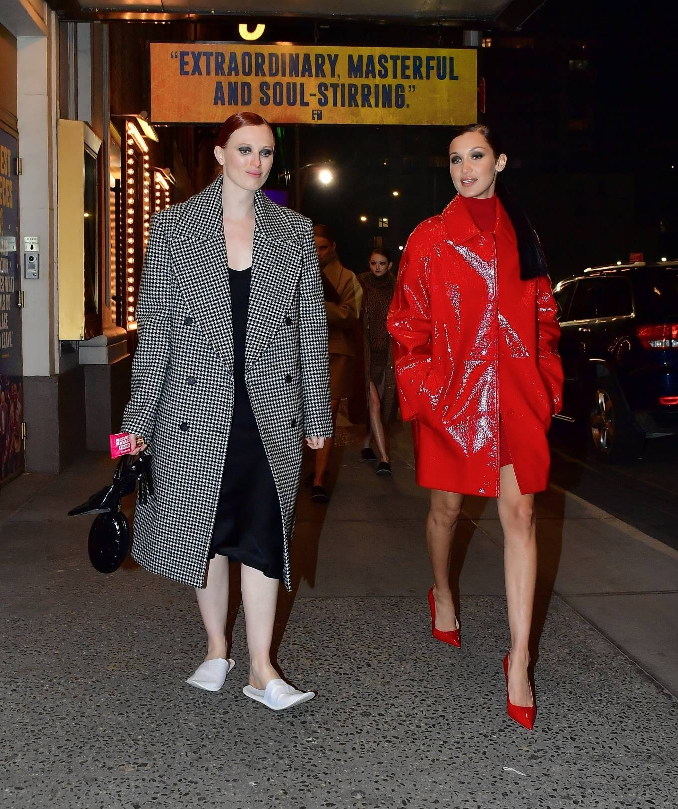 Bella Hadid rocking narrow red slip on pumps with high heel
