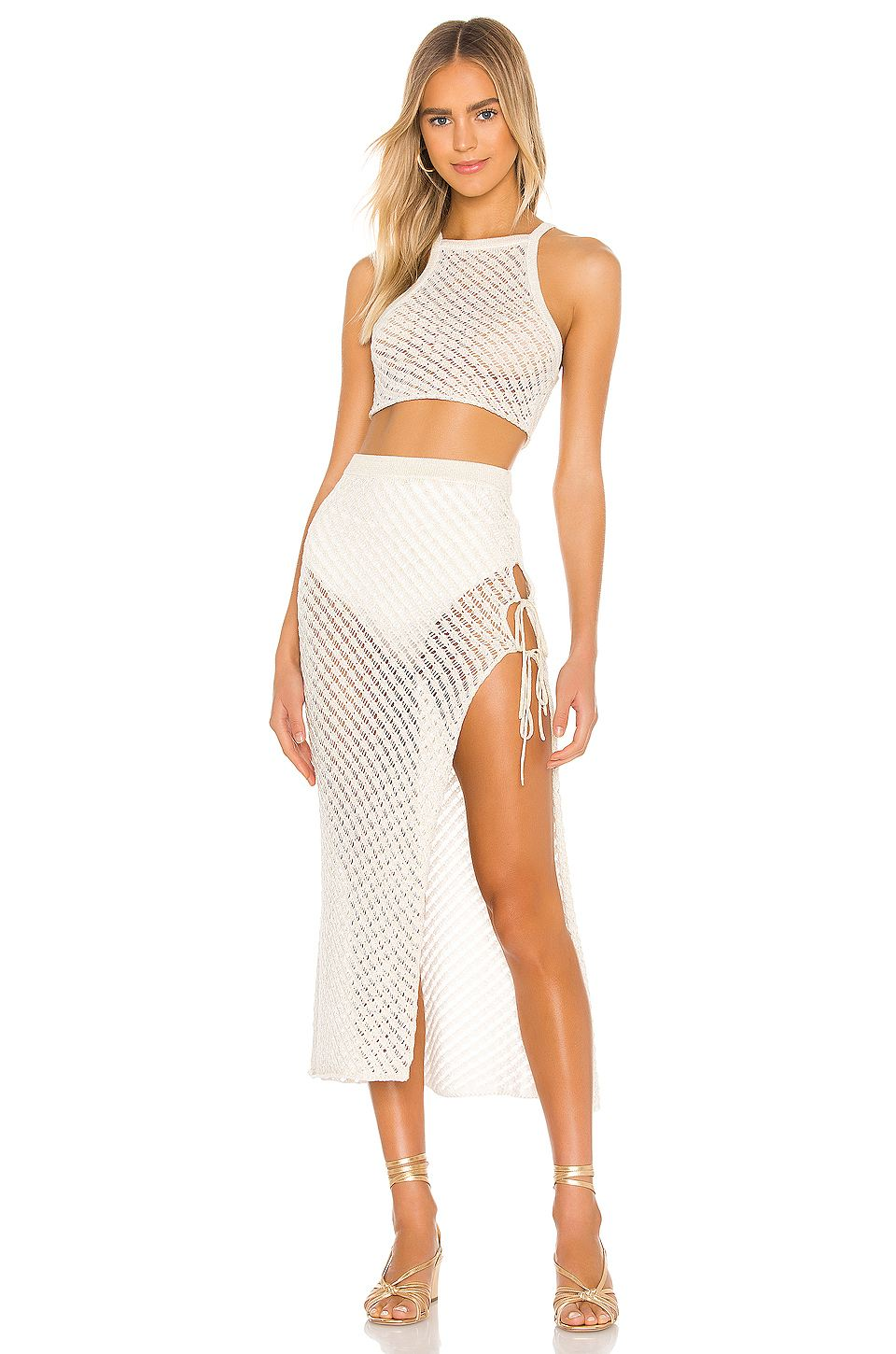 Camila Coelho, Camila Coelho  midi skirt, white  midi skirt, crochet detailing, braless white Camila Coelho crop top, display, knotted, midi, high waist, matching, sexy