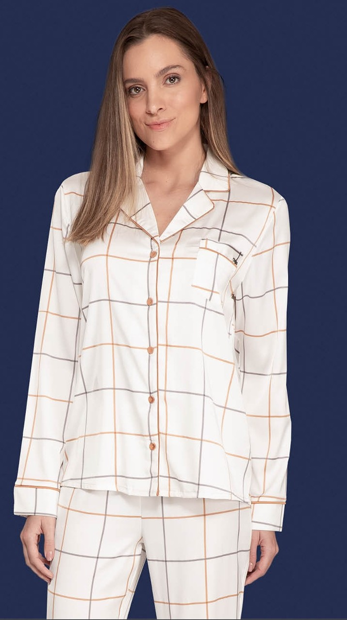 Camila Coelho donning a Off White Nightsuit Checked Shirt with a cotton silk fabric