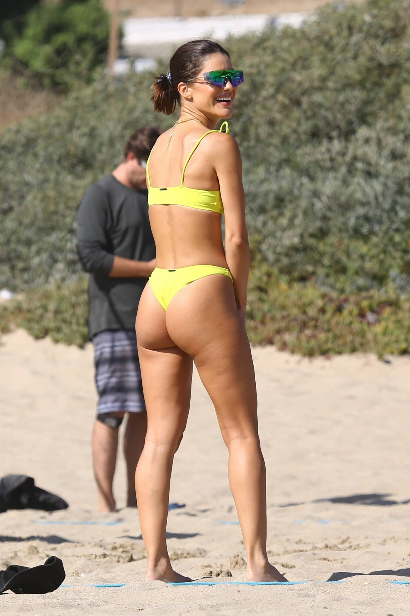 Camila Coelho, yellow green  bikini bottom, yellow green bikini top, green wayferer, sexy, skimpy, show, matching