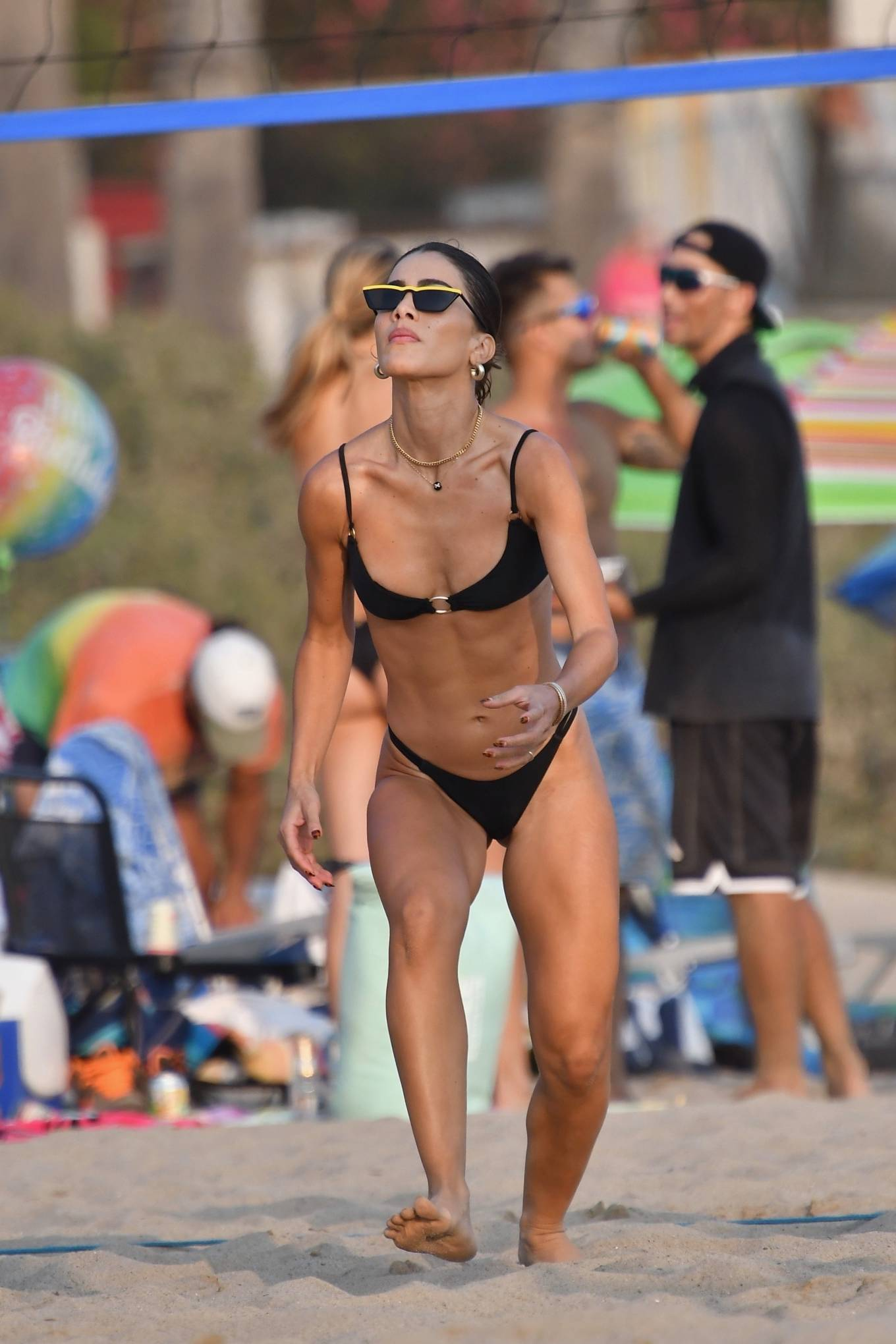 Camila Coelho, black  bikini bottom, black sunglasses, black bikini top, sexy, skimpy, display, matching
