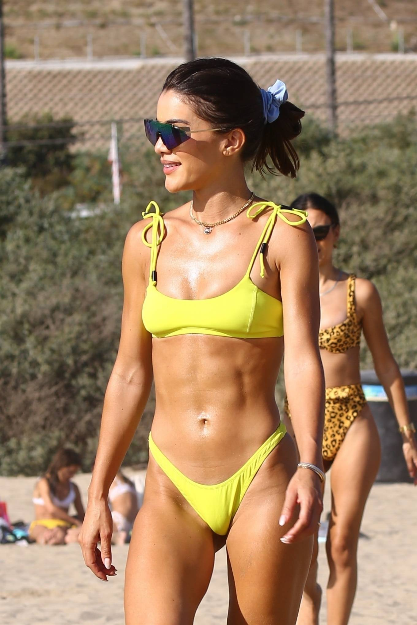 Camila Coelho, yellow green  bikini bottom, green wayferer, yellow green bikini top, sexy, skimpy, show, matching