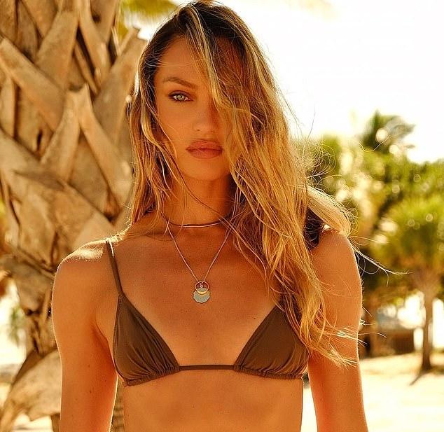 Candice Swanepoel donning skimpy brown nylon low rise skinny bikini bottom
