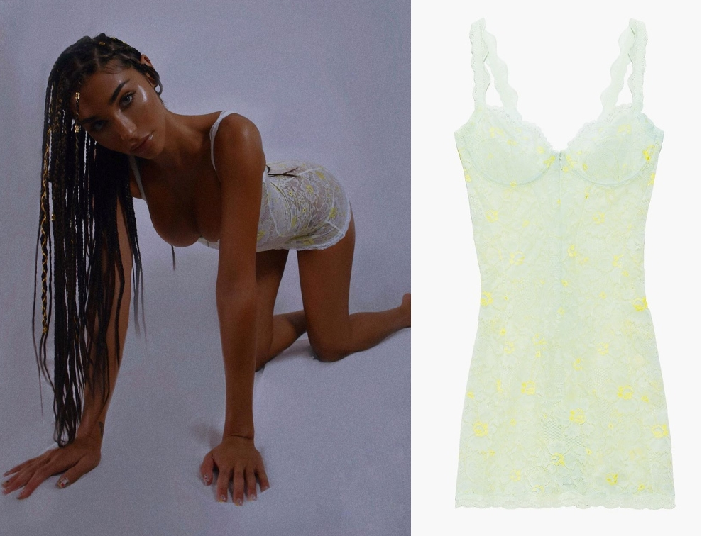 Chantel Jeffries sizzled in a Sheer baby green pistachio floral lace Savage X Fenty by Rihanna mini camisole dress with a sheer lace detailing fabric, thin shoulder strap, floral print and a deep sweetheart neckline