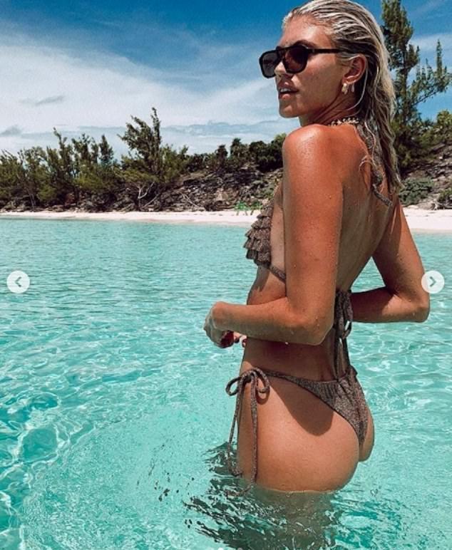 Devon Windsor wearing Skimpy brown ruffled Devon Windsor bikini bottom with ruffled