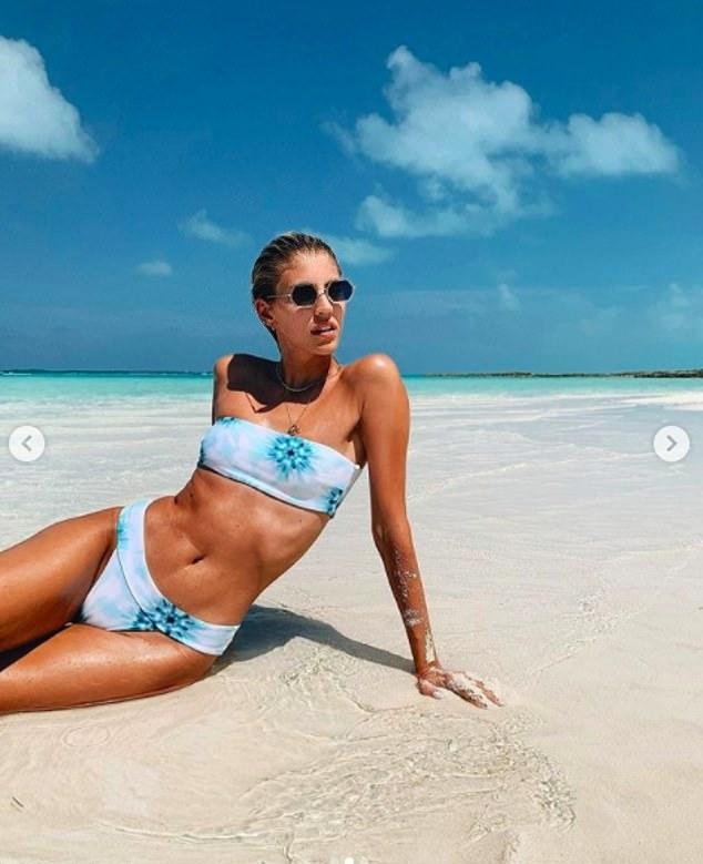 Devon Windsor rocking Skimpy light blue printed Devon Windsor bikini bottom