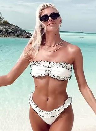 Devon Windsor wearing Skimpy white Devon Windsor ruffled bikini bottom with ruffled