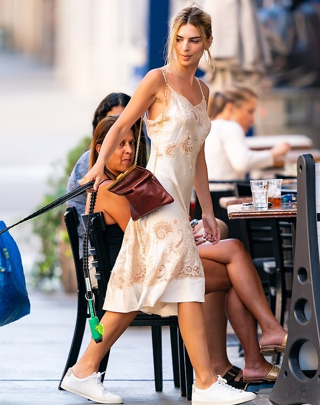 Emily Ratajkowski Cream Satin Braless Midi Slip Dress ...