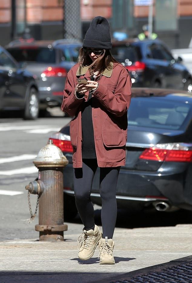 Emily Ratajkowski rocking round beige Nude lace-up shoes with chunky sole