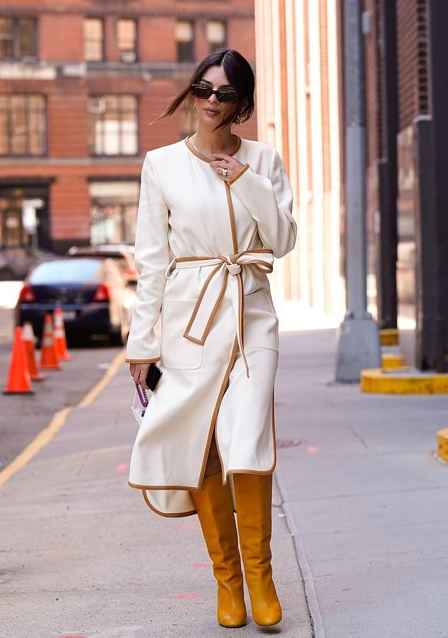 Emily Ratajkowski wearing round yellow knee high boots with block heel