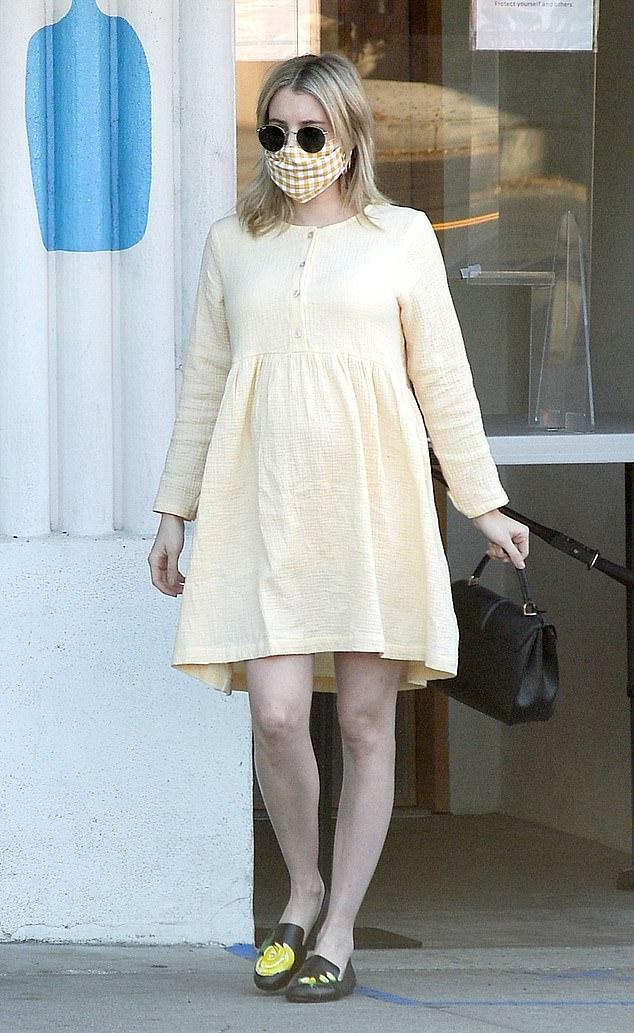 Emma Roberts Light Yellow Mini Dress Emma Roberts Light Yellow Mini Dress Pregnancy Style Spring Summer 2020 Image 0 Sassy Daily Fashion News