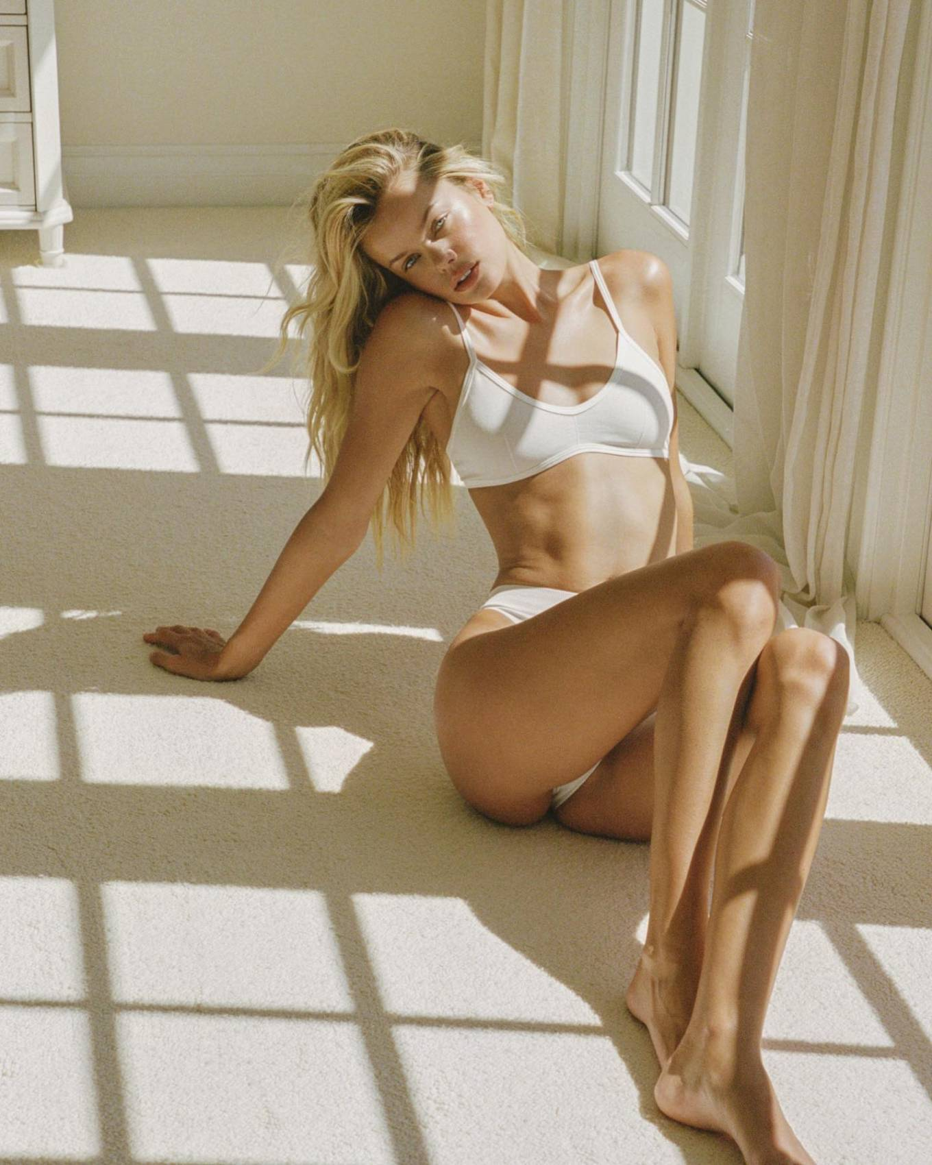 Frida Aasen donning sexy white basic brief with high rise