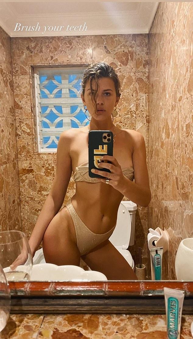 Georgia Fowler dazzled in shimmery beige bikini bottom