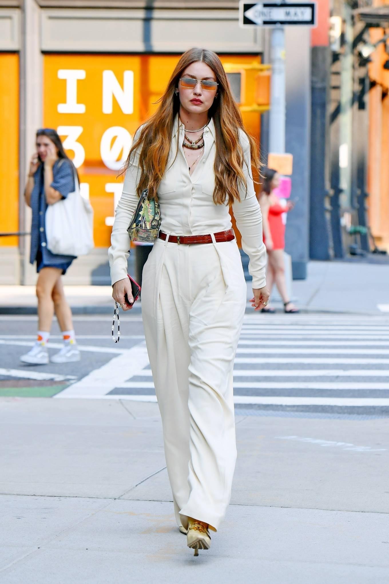 Gigi Hadid rocking pointed white sandals
