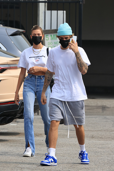 Hailey Bieber rocking white Nike lace-up sneakers
