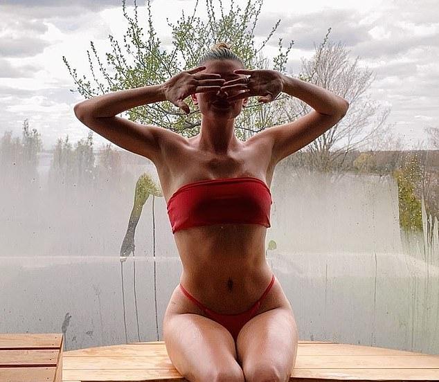Hailey Baldwin donning Red bikini bottom