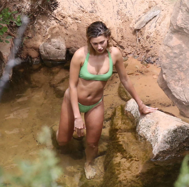 Hailey Bieber rocking Green Lisa Marie Fernandez bikini bottom