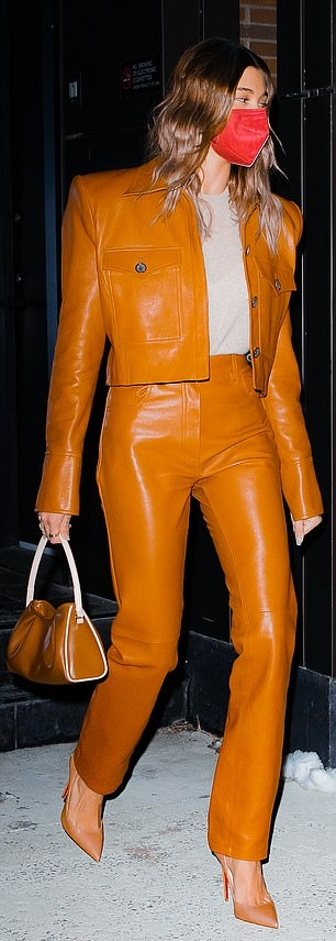 Hailey Bieber carrying a small beige cow leather shoulder bag with hand stitch handle