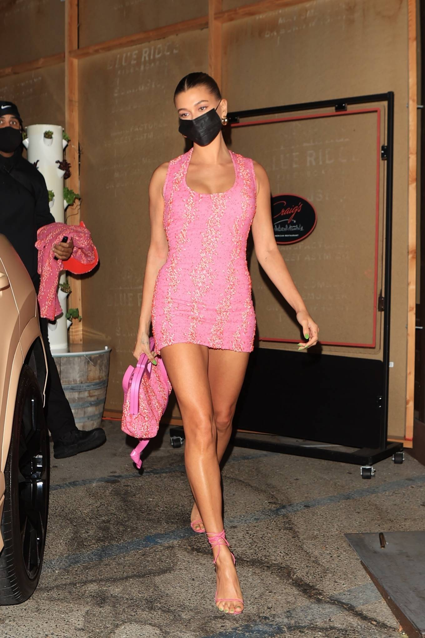 Hailey Baldwin rocking a figure hugging Bottega Veneta dress with a nylon material, back zip, embellished and a scoop neck