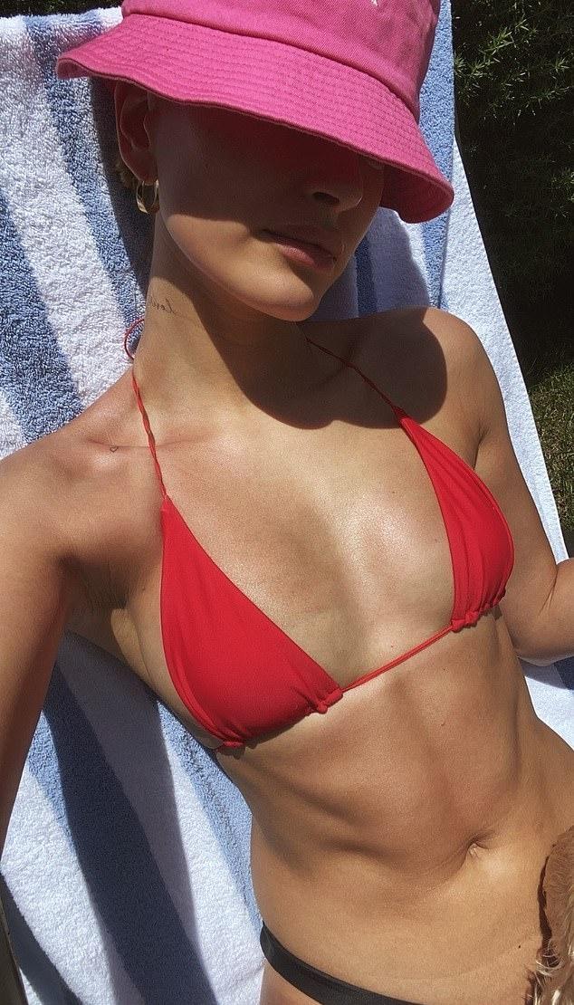 Hailey Baldwin donning Black bikini bottom