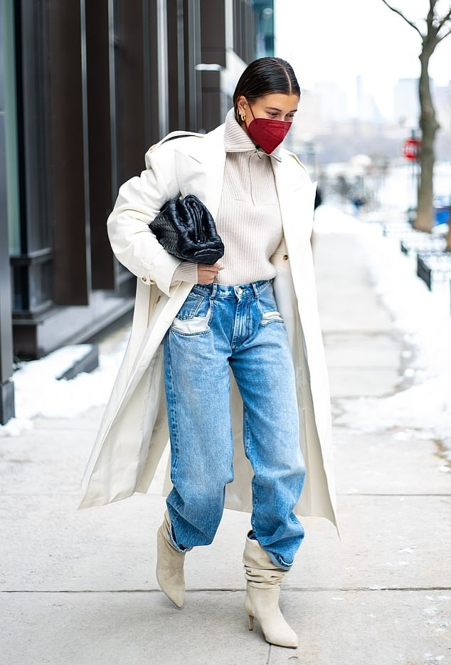 Hailey Baldwin rocking slouchy beige suede ankle boots by Paris Texas with high heel