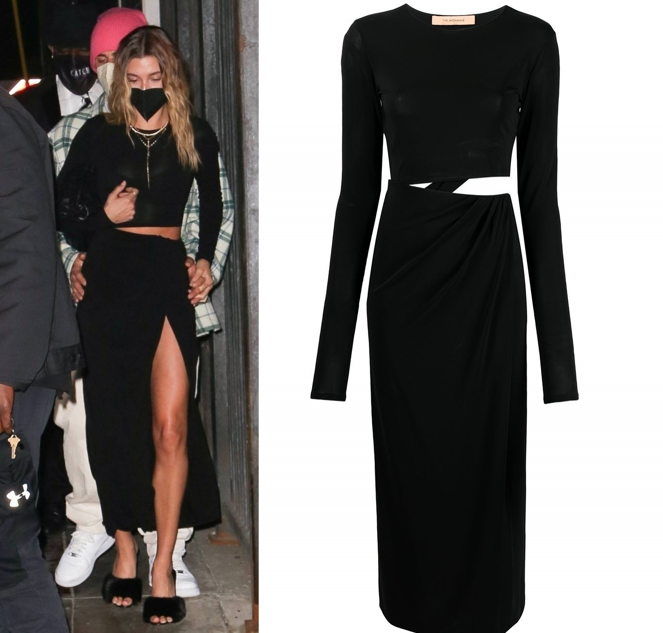 Hailey Bieber rocking a flattering Andamane dress with a chiffon fabric, long sleeves, cut out waist and a round neck
