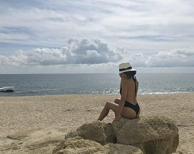 Jenna Dewan wearing a Black backless one piece
