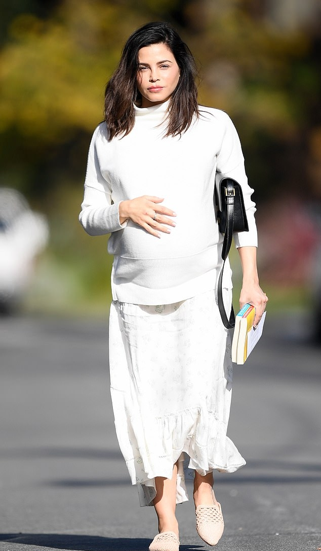 Jenna Dewan wearing cut out cream Nude mules with flat heel