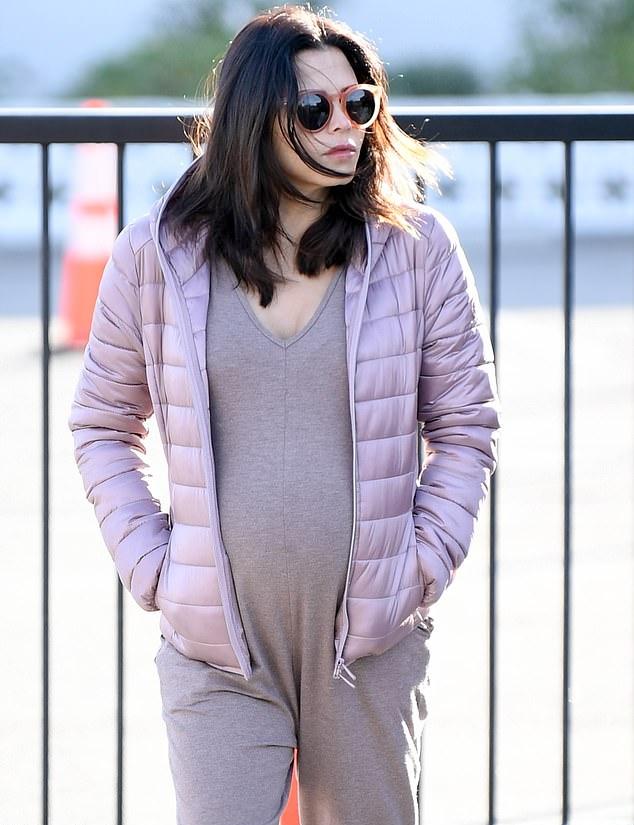 Jenna Dewan rocking pink mesh lace-up sneakers