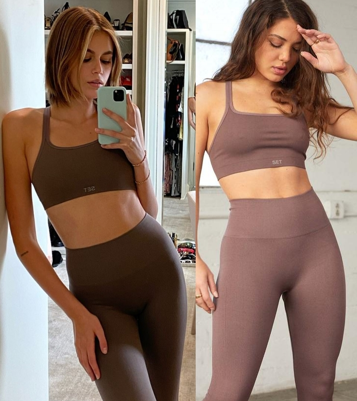 Kaia Gerber donning Skinny pepper Set Active high waist workout leggings