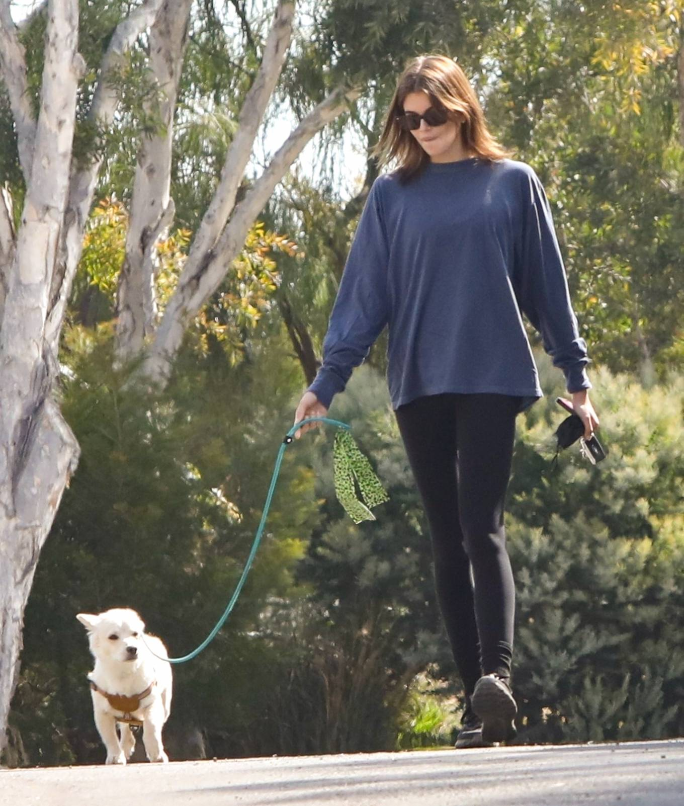 Kaia Gerber wearing a relaxed fit navy blue sweatshirt with full sleeves and a crew neck