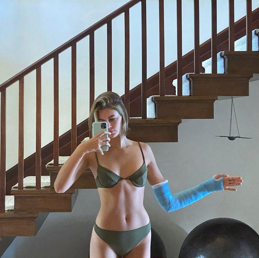 Kaia Gerber rocking Olive green bikini bottom