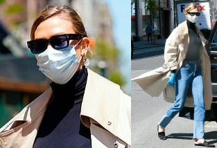 Karlie Kloss rocking Straight fit blue denim distressed jeans with cropped hem with a denim material