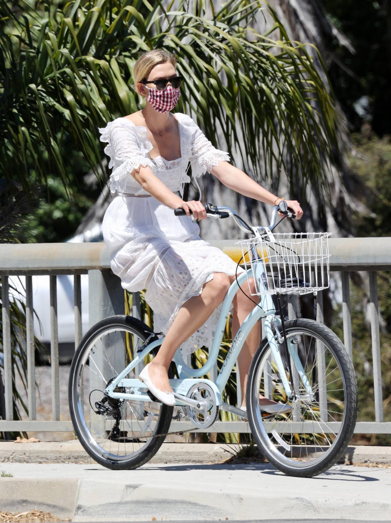 Karlie Kloss rocking narrow white ballerina with flat heel