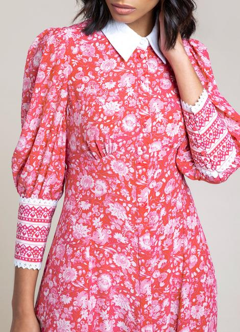 Kate Middleton rocking a Floral rose red Beulah London maxi shirt dress with puffy sleeves, shirt collar, printed wide cuffs, floral print and flared hem