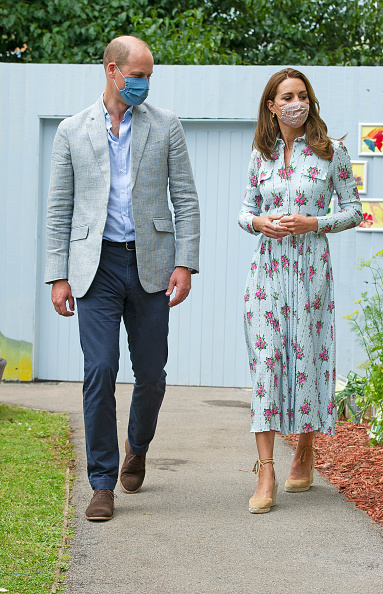 Kate Middleton rocking narrow Nude crisscross tie wedges with high heel