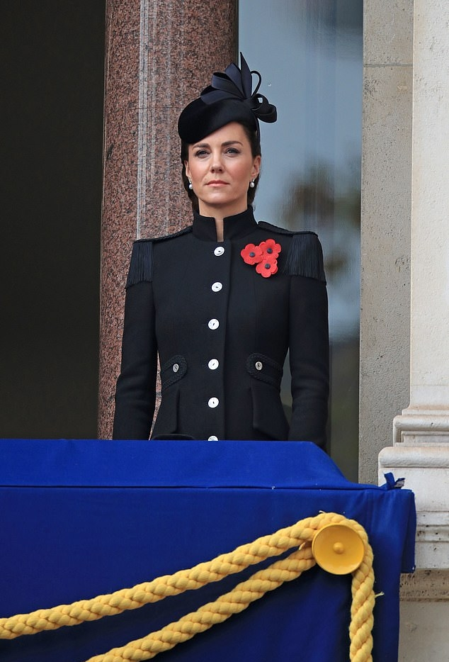 Kate Middleton donning a classic fit navy blue floral coat with full sleeves, padded shoulder, stand-up collar and button front
