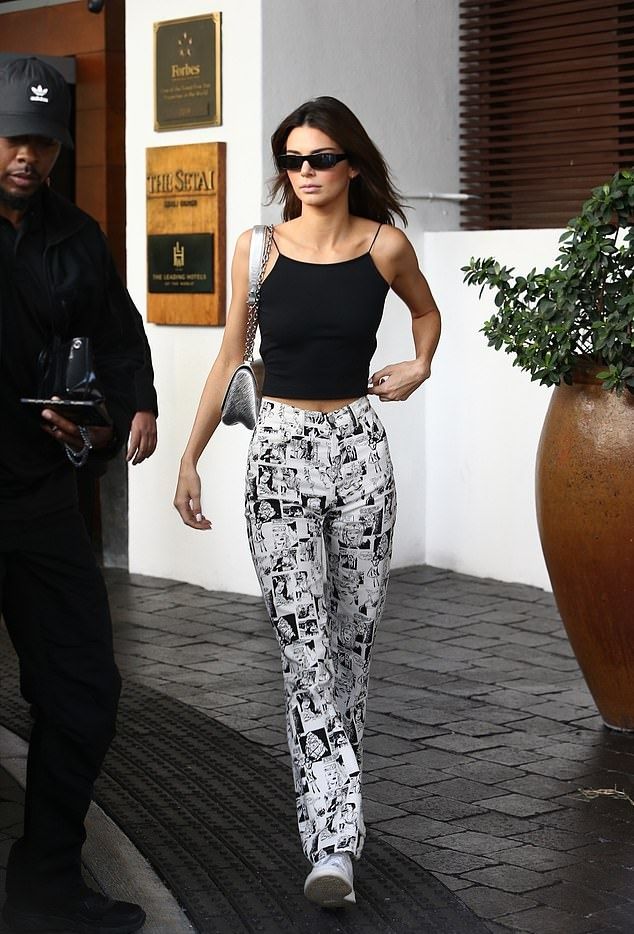 Kendall Jenner wearing White patterned print pants