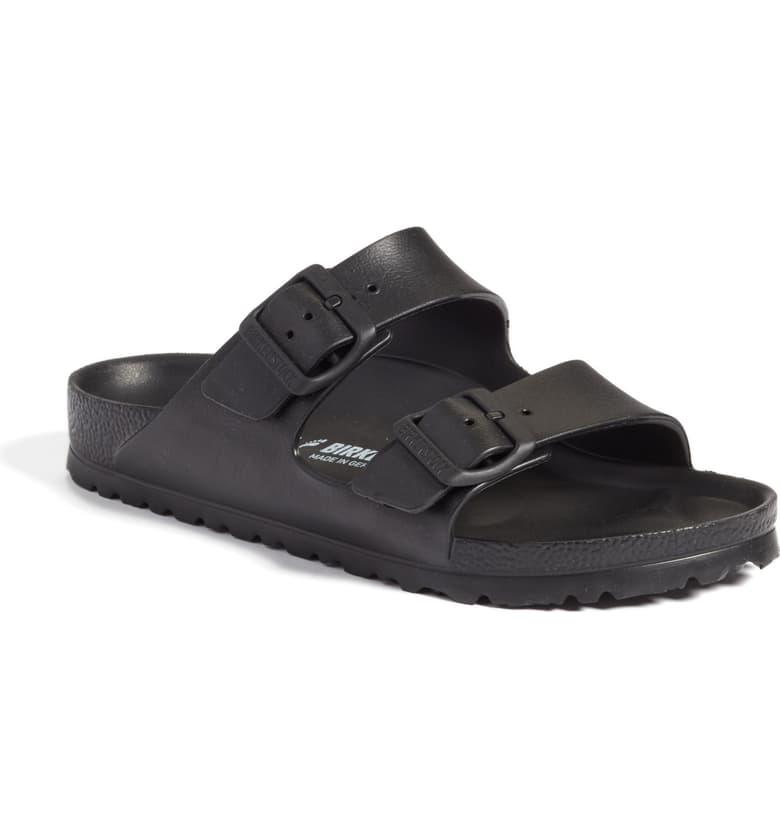 Kendall Jenner donning black velcro strap sandals by Birkenstock