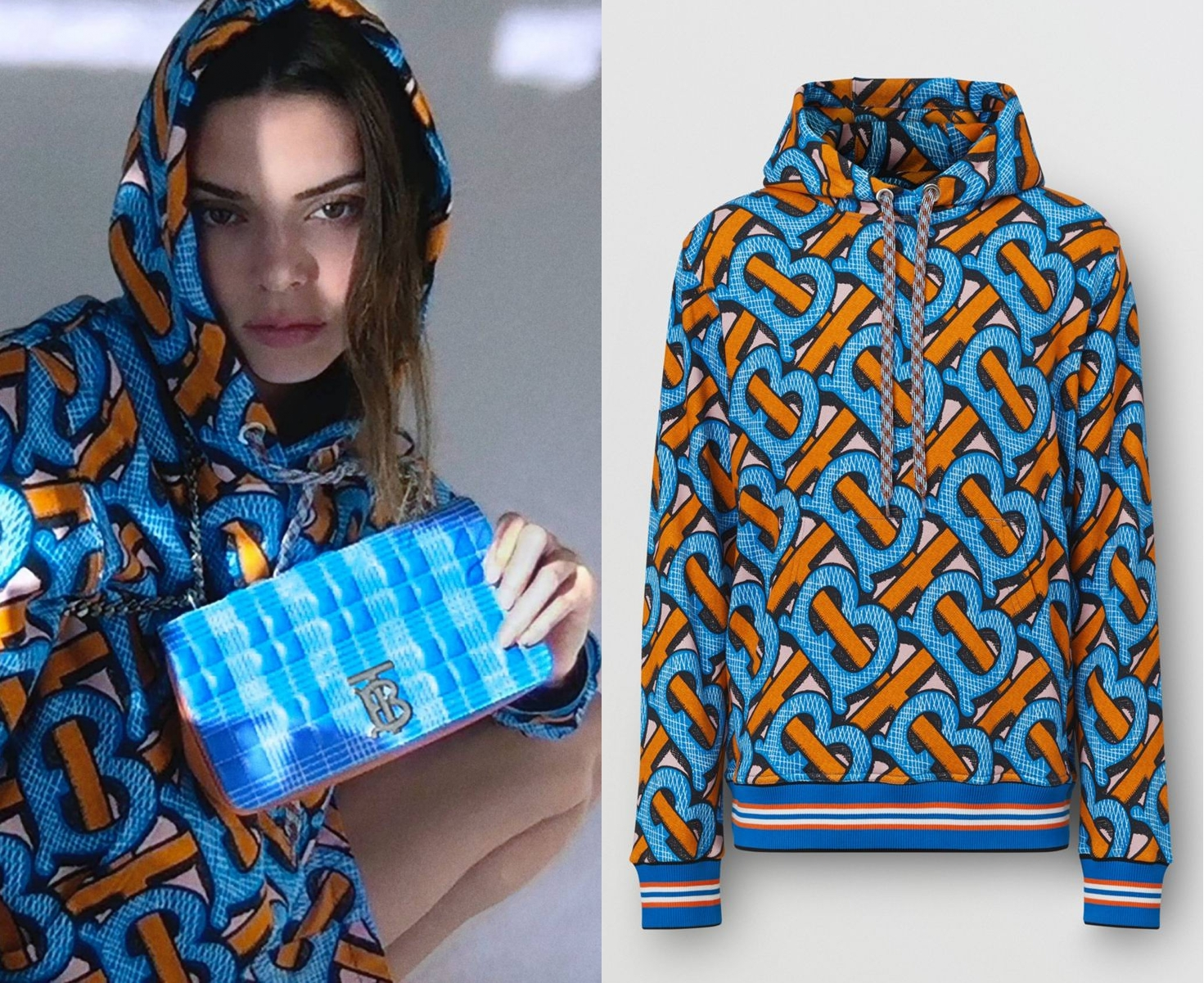 Kendall Jenner wearing a Oversized blue printed Burberry hoodie with extra long sleeves